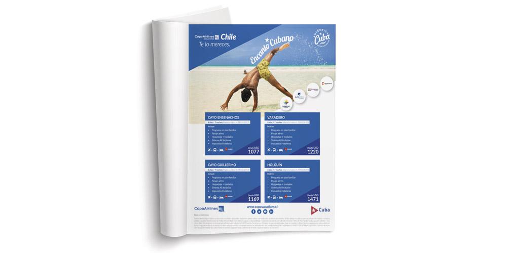 Aviso Editorial diseñado y diagramado por CHAN para CopaVacations Chile